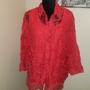 Alfred Dunner orange lacy blouse. Size 16W